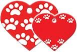 Адресник Сердце большое красное «Лапки»