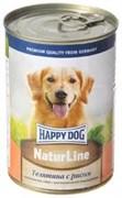 "Happy Dog NaturLine консервы для собак телятина/рис 400 гр"""