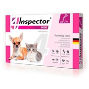 Инспектор капли на холку от внешних и внутренних паразитов для собак и кошек весом 0,5-2кг, 1 пипетка