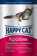 Happy cat паучи для кошек кролик/индейка с морковью в соусе 100гр