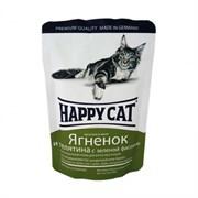 Happy cat паучи для кошек ягненок/телятина с зеленой фасолью в желе 100гр