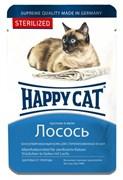 Happy cat паучи для стерилизованных кошек лосось в желе 100гр