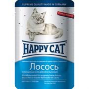 Happy cat паучи для стерилизованных кошек лосось в соусе 100гр