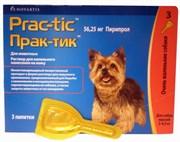 Прак-тик (Prac-tic) Капли на холку от клещей и блох для собак весом 2-4,5кг, 1 пипетка