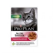Проплан Sterilised кусочки в соусе для стерилизованных кошек и кастрированных котов с говядиной 85г